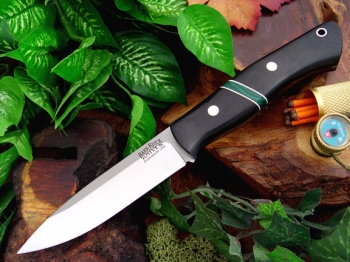 Нож Bark River Aurora Black Canvas Micarta - Jade Malachite Spacer .