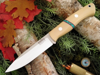 Нож Bark River Aurora Antique Ivory Micarta - Turquoise Spacers