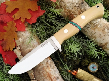Нож Bark River Drop Point Hunter Antique Ivory Micarta Turquoise Spacers