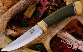 Нож Bark River Scandi Green Linen Micarta Ivory Spacer